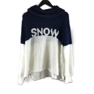 Wooden Ships Cowlneck Indigo Pure Snow Sweater